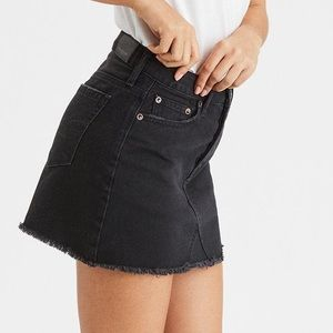 American Eagle Button Fly Frayed Black Jean Skirt